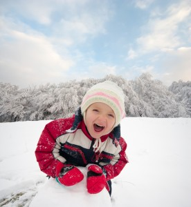 girl having fun in the snow